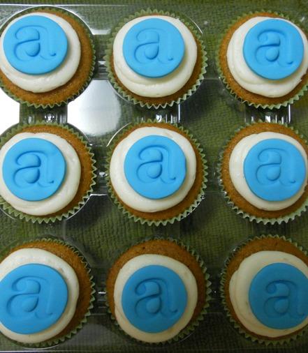 Monogrammed Pumpkin Mini Cupcakes
