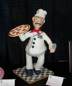 Sculpted pizza guy