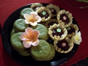 Green tea macarons and chocolate bavarian cream tarts
